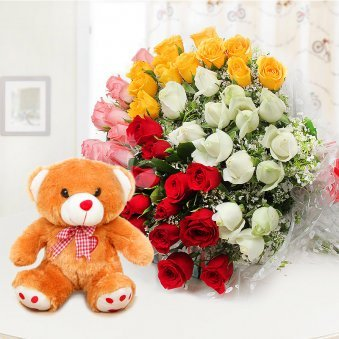 Swoon In Love - Combo of 60 mixed roses bunch and 1 brown teddy