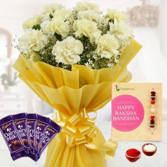 Rakhi with Whilte Roses and Chocolates
