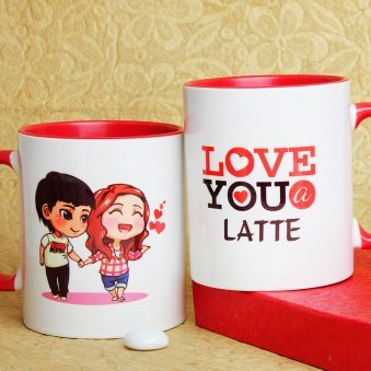 Love You A Latte Printed Mug with Both Sided View
