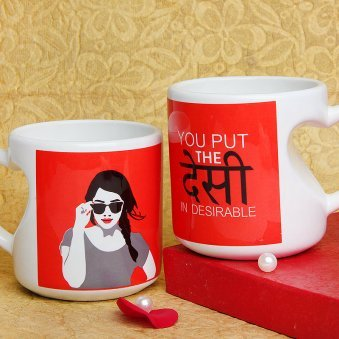 The Desi In Desirable Printed Mug with Both Sided View