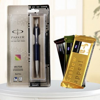 A combination of one parker pen with 3 temptaion chocolate