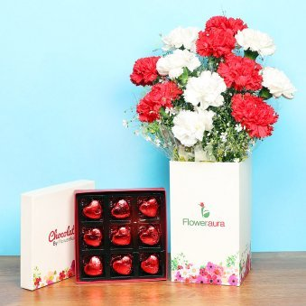 Carnations with Chocolates Combo