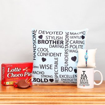 Stone Rakhi with Chocolate and Printed Mug, Cushion