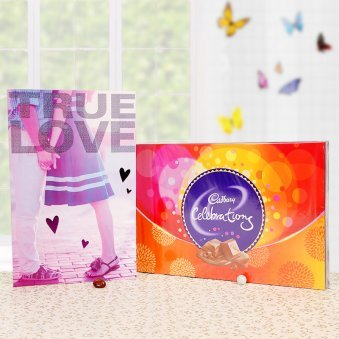 A combo of greeting card and cadbury celebrations pack