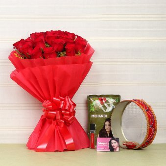 Flowers with Suhaag Items and Chalni