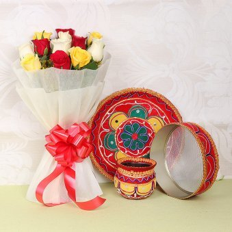 Karwa Chauth Thali Set with Flowers