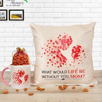 A Combo of Mug and Cushion with Dry Fruits For Mother