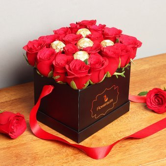 Ferrero Rocher and Red Roses Arrangement in Black Box