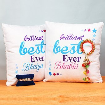 Bhaiya Bhabhi Rakhis and Cushions Set
