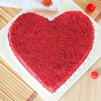 Benevolent Heart Shape Red Velvet Cake - Zoom View - Top View