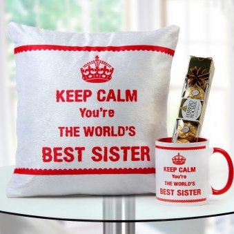 """Keep Calm You Are The World's Best Sister"" quoted cushion and mug with Ferrero rocher chocolate"