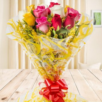Top view of mixed roses bouquet - Second gift of Blissful Gift Combo