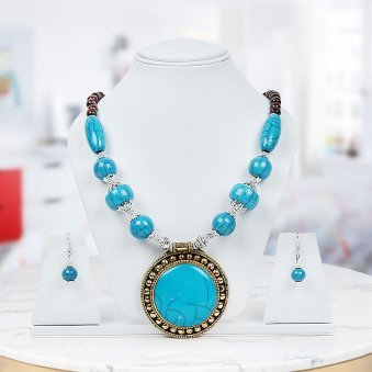 Blue passion Necklace with matched earings to gift