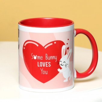 Bunny Love - A Personalised Mug with Front Side View
