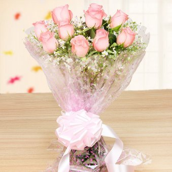 10 Pink roses bunch - Part of Cherry Vanilla Roses