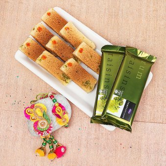 Bhaiya Bhabhi Rakhi with Milk Cake and Chocolates Combo