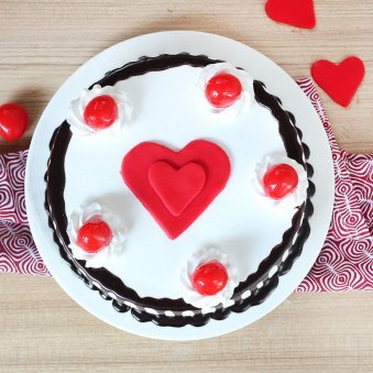Black Forest Cake with 2 Fondant Heart - Top View
