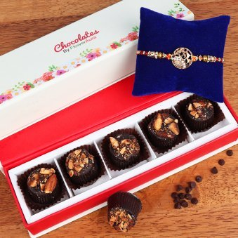 Rakhi and Five Chocolates Gift Combo for Brother