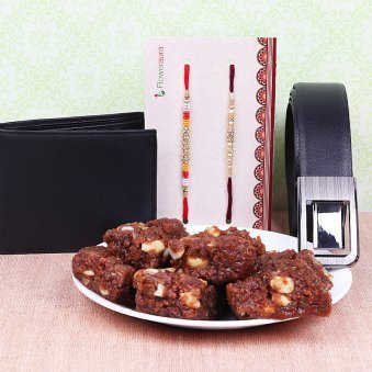 Set of Two Rakhis with Wallet and Belt alongwith 500g Dodha