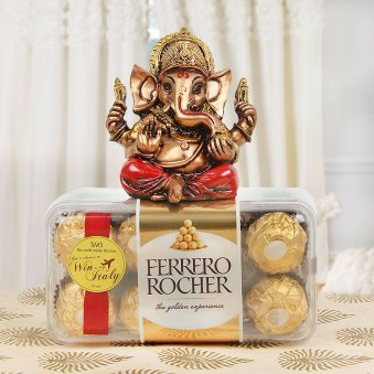 Combo of Divine Blessing 16 Pc Ferror Rocher with Ganesha Idol