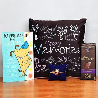 Rakhi with Card, Printed Cushion and Chocolate