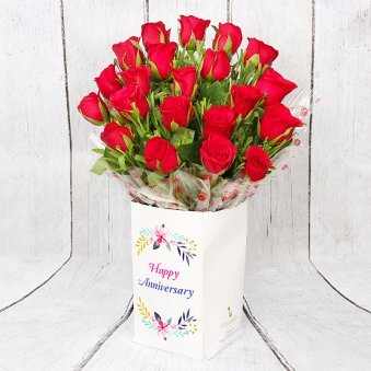 Bunch of 20 Red Roses for Anniversary