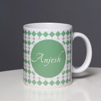 A Printed White Mug with Front Side View