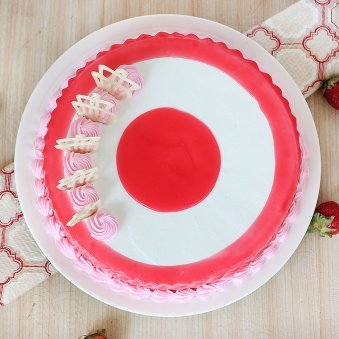 Strawberry Cake with Centered Filled - Top View