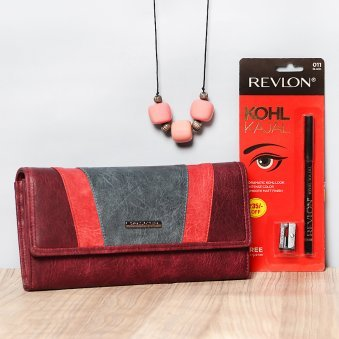 Combo of Clutch with Kajal and Necklace