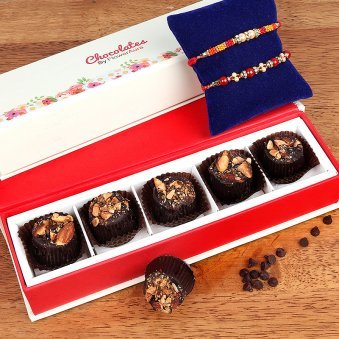 Two Rakhis with Five Handmade Chocolates
