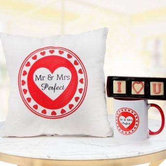 Mr and Mrs Perfect mug and cushion with I Love You handmade chocolate