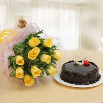 Eternal Sweetness - Combo of 10 yellow roses with half kg chocolate truffle cake