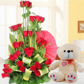 40 red rose arrangement 12 inch teddy flower combo