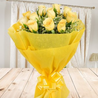 Front view of 12 yellow roses bunch - A gift of Felicitous Gift Combo