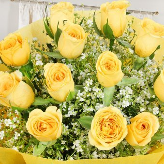 Zoomed view of 12 yellow roses bunch - A gift of Felicitous Gift Combo
