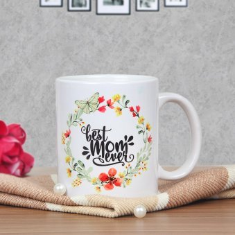 Floral Mom Mug - A Mothers Day Special Flower Printed Mug with Front Sided View
