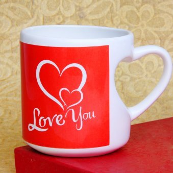 Love You Mug with Heart Shaped Handle with Front Sided View