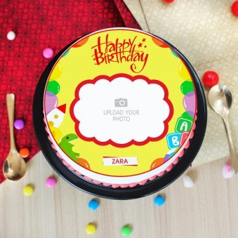 Happy Moment Photo Cake - Top View