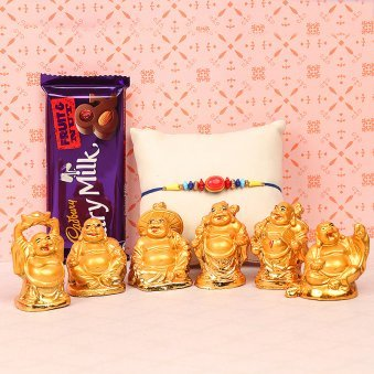 Rakhi and Chocolates with Buddha Statues Gift Combo