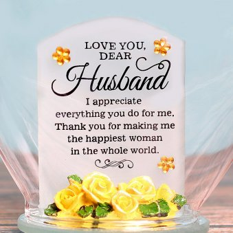 Heart Shaped Glass Quotation for Husband with Clear View