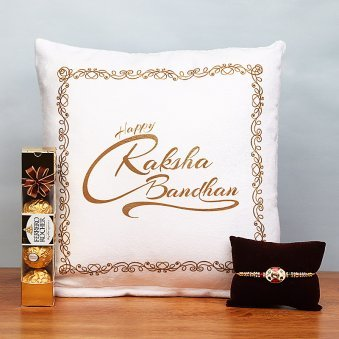 Rakhi with Raksha Bandhan Cushion and Chocolates