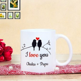 Heart In A Mug - Personalised White Mug with Front Sided View