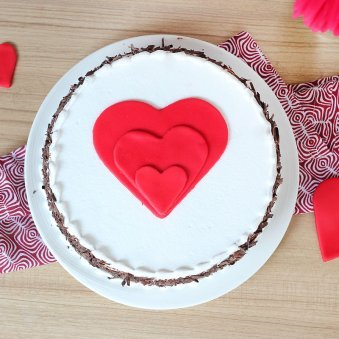 Black forest cake with 3 hearts - Top View