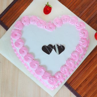 Heart Shaped Strawberry Cake - Top View