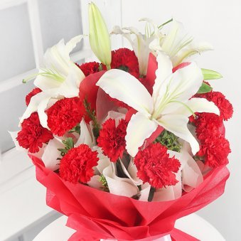 15 Red Carnations and 4 Oriental White Lilies in Zoomed View