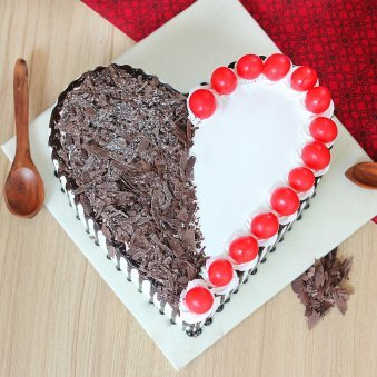Cherry Black Forest Heart Cake