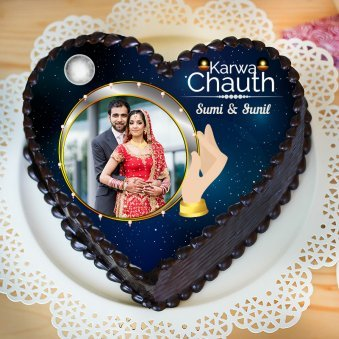 Heart Shaped Chocolate Cake for Karwa Chauth