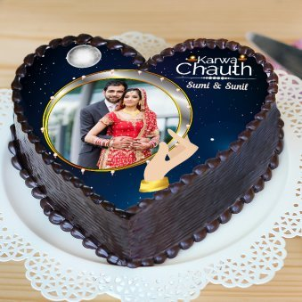 Heart Shaped Chocolate Cake for Karwa Chauth - Zoom View