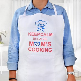 Keep Calm Apron for Mom in Wearing View