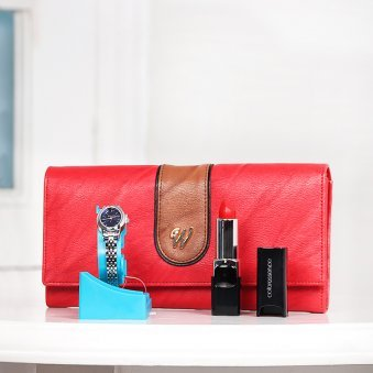 Combo of Clutch with Watch and Lipstick